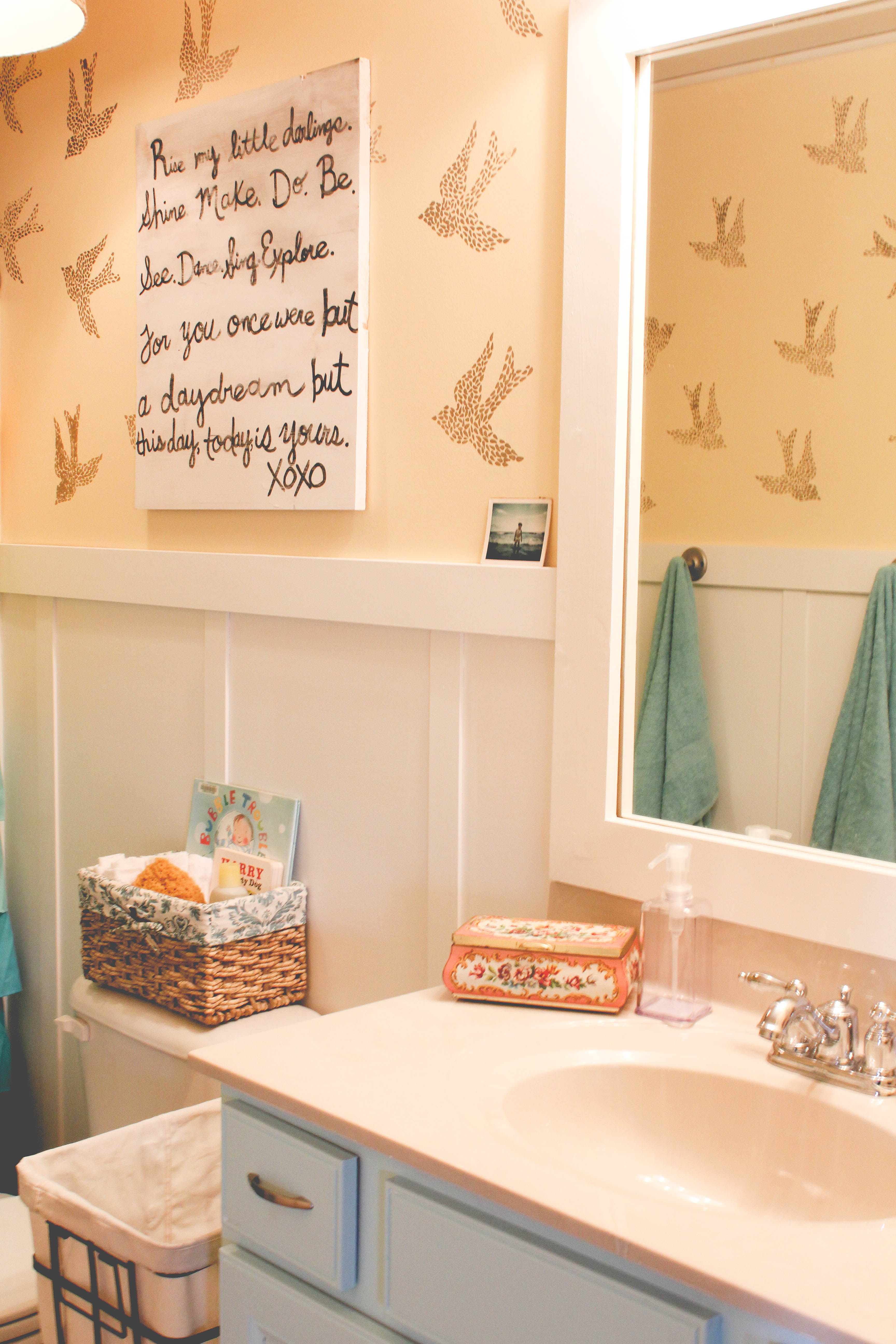 stenciled bird kids bathroom our storied home stenciledbirdbathroom