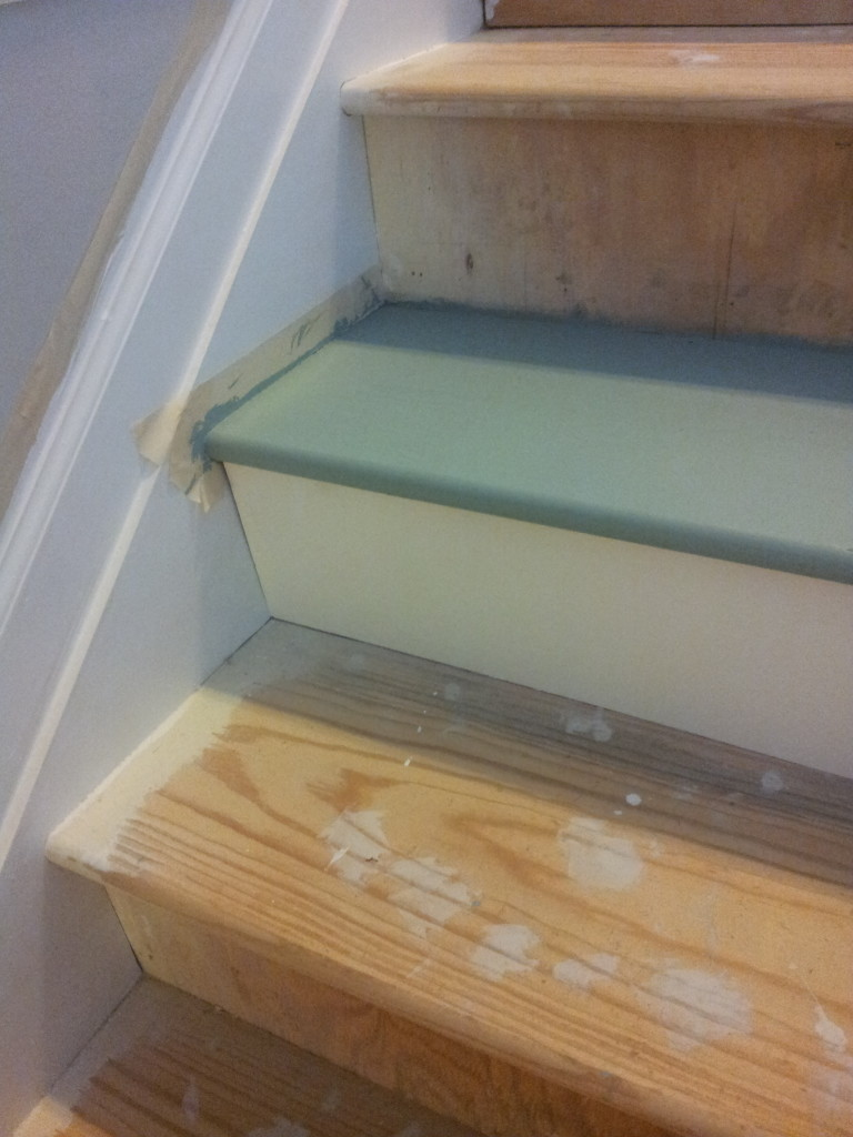 Painted stair treads and DIY stair riser