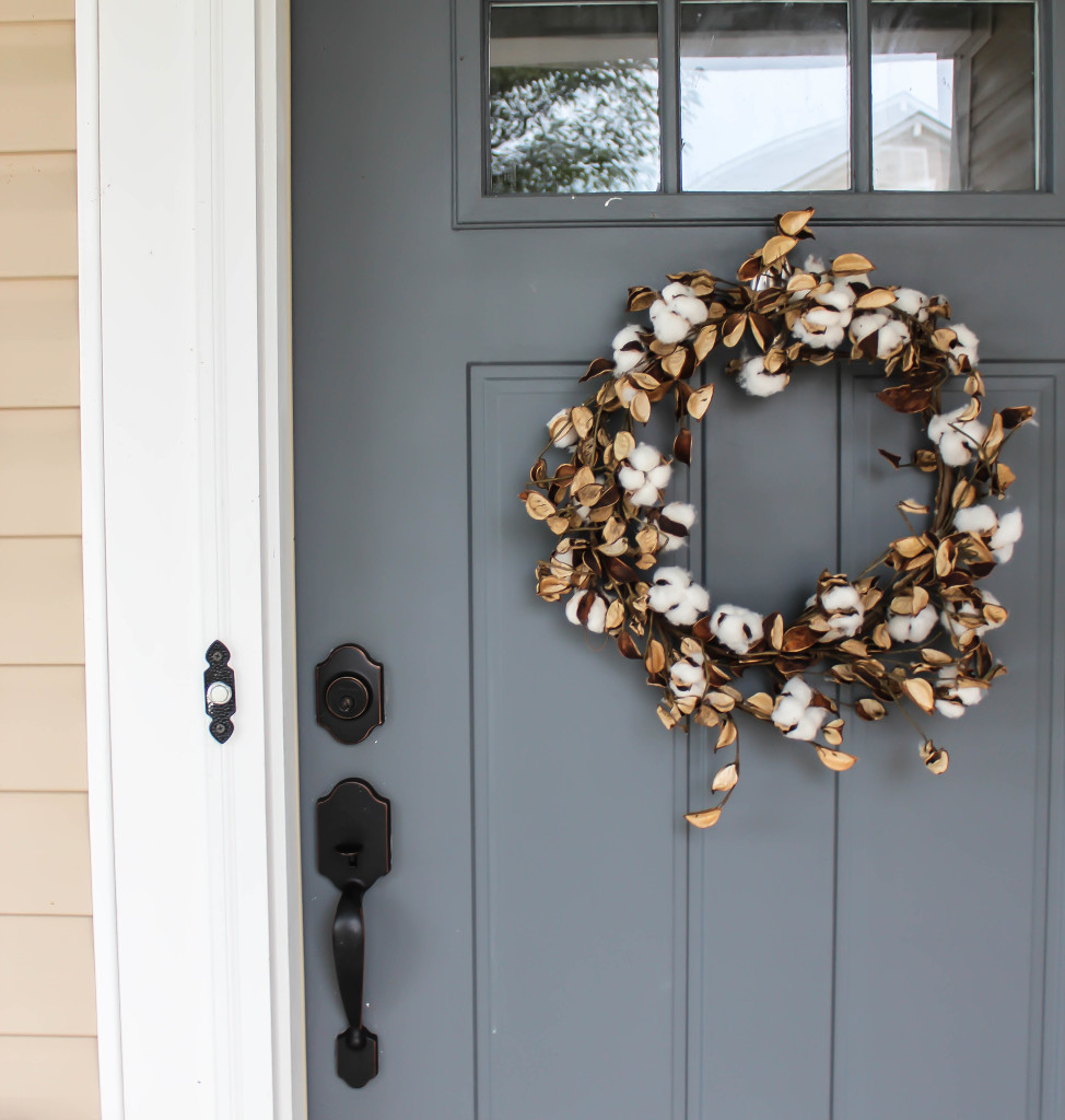 Cotton Wreath on Gray Door