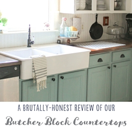 A Brutally-Honest Review of Ikea Butcher Block Countertops • Our on butcher block countertop marble, butcher block countertop bathroom, butcher block countertop laundry,