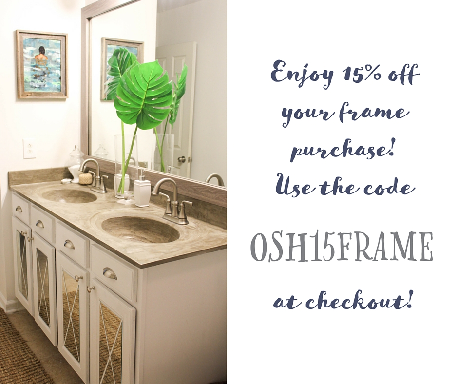Enjoy 15% off your custom framing order at Frame My Mirror