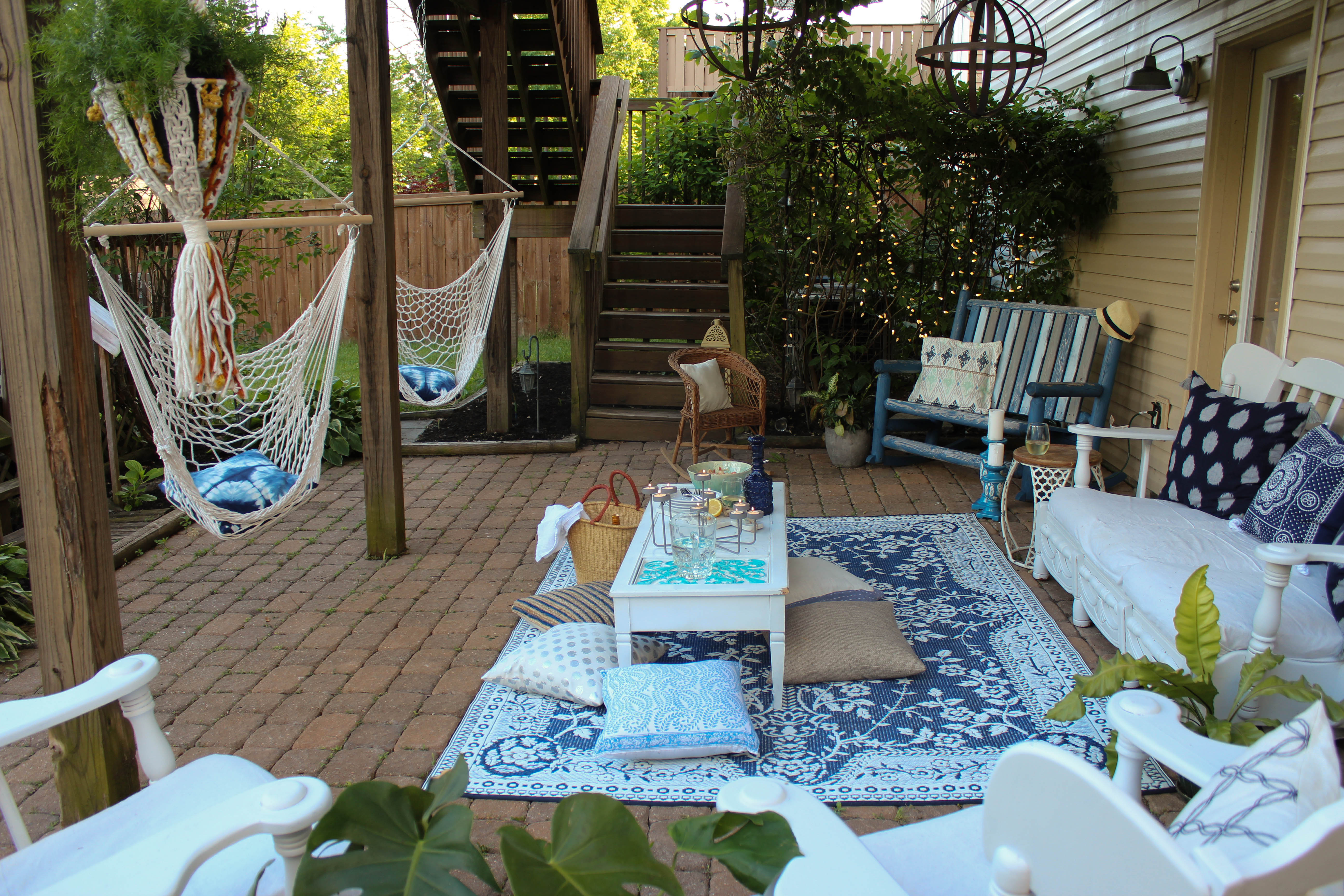Our Storied Home Poolside Patio