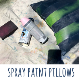 spray painting pillows
