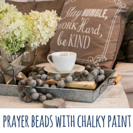 prayer beads with chalky paint